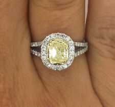 2.00 CT OVAL CUT FANCY YELLOW DIAMOND SOLITAIRE ENGAGEMENT RING 18K WHITE GOLD