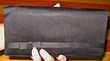 VINTAGE 1960s BLACK SATIN TUXEDO STYLE EVENING BAG CLUTCH PURSE ENVELOPE MAD MEN