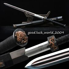100% Handmade Rare Boutique Chinese Han Sword Pattern Steel Copper Ebony Sheath