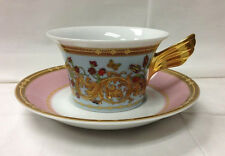 """VERSACE """"BUTTERFLY GARDEN"""" LOW TEACUP & SAUCER PORCELAIN NEW ROSENTHAL GERMANY"""