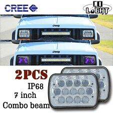 """7x6"" LED  Headlight CREE Crystal Clear Sealed Beam 5x7 XJ YJ Ford Headlamp Pair"