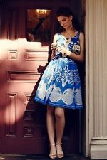 Anthropologie azure lace dress tracy reese 2p petite fit flare engagement
