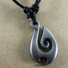 Tribal Hook fish Spiral Maori Medieval Pewter Pendant and Cotton Necklace #235