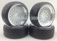 4x 1/10 BBS BMW STYLE WHITE CHROME RC DRIFT WHEEL TYRE SET 6mm OS / 12mm HEX NEW