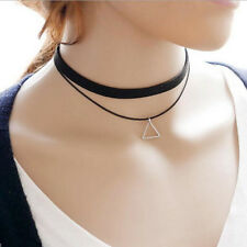 Vintage 80S 90s' Punk Charm Black Leather Choker Necklace Jewelry sale