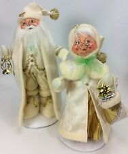 "ANNALEE Doll Christmas Mr. & Mrs. ""SNOW-WHITE"" Santa Clause (RARE!)"