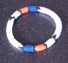 African tribal beaded bangle bracelet white hand made Zulu jewellery jewelry