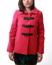 NWT Iron Fist Juniors Womens Heads Up Hooded Jacket Peacoat Pink Winter Sweater