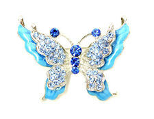 Butterfly Pin Brooch Gorgeous Sapphire Color Blue Crystal Enamel Insect Fashion