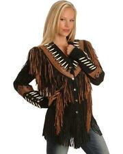 Women Black Fringe Suede Leather Jacket with Bone Beads & Brown Fringe Contrast