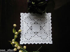 "5"" INCH SQUARE LACE WHITE PAPER LACE DOILIES CRAFT 25 PCS USA WEDDING CARDS"