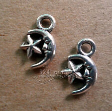 50pc Tibetan Silver Charms 2-Sided Moon Star pendant Accessories Wholesale P147