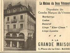 12 RODEZ A LA GRANDE MAISON VETEMENTS PUBLICITE 1922