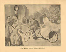 Bicycle Tandem, Wedding, Bridal Gown, Vintage 1894 German Antique Art Print RARE