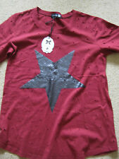 Ladies Dark Red T Shirt with Black Sequin Star - New - L