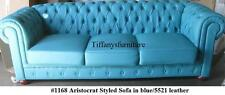 Gorgeous Aristocrat Styled Modern Blue Leather Sofa #1168