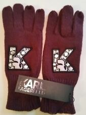 KARL LAGERFELD Bordeaux Jewelled Knit Gloves S/M