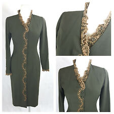 Vintage 80's Women Dress Coat Evening Fitted Victorian Lace Green UK12 EU38