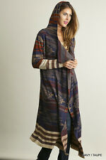 NWT Boutique Umgee Long Hooded Sweater Cardigan Navy Taupe Tribal Print Small