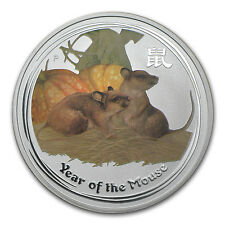 2008 Australia 1 oz Silver Mouse BU (Series II, Colorized)