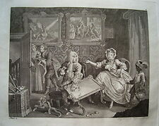 William Hogarth Werdegang der Dirne 2 Sex  Prostituierte alter Kupferstich 1800