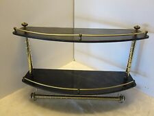 Hollywood Regency towel bar 2 tier Metal & Faux dark Marble Wall Shelf Bathroom