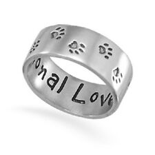 Paw Print Band Ring Unconditional Love Dog Cat Rescue .925 Sterling Silver Sz 10