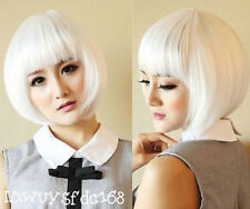 New Fashion Womens Bob White Lady Short Straight Hair Full Wigs Cosplay Costume