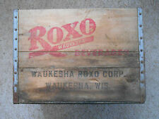 Old Vintage Antique Roxo Waukesha Beverages Wood Crate Box Wisconsin Soda Bottle