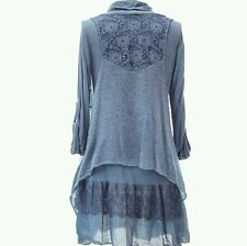Women's New Italian Lagenlook Layering Quirky mohair cowl neck 2pc Tops Tunic