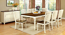 Vintage White & Dark Oak Finish 9pc Dining Set Dining Table & 8 Side Chairs Home