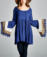 Velzera Boutique Bell Sleeves Boho Tunic Top/Dress Navy Size L