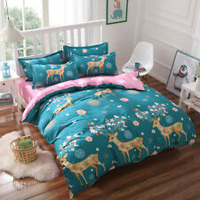 New Year Deer Xmas Elk Gift  Blue Queen Bed Set Pillowcase Quilt Duvet Cover FUS