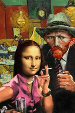 ART PRINT Ladies' Night Van Gogh and Mona Lisa Barry Kite