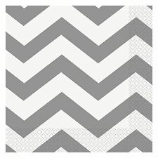 "16 Silver White Chevron ZigZag Birthday Party 6.5"" Paper Lunch Napkins"
