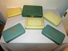 Lot 5 Vintage Farrington Texol & Other Jewelry Box Cases, Lined, Hinged Lids