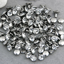 Leathercraft DIY Round Studs Spots Spikes Rivets Punk Rhinestone 8mm 50x