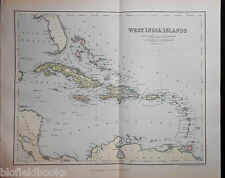 Original Antiquarian 1889 Map of West India/Indies Islands Victorian Geography