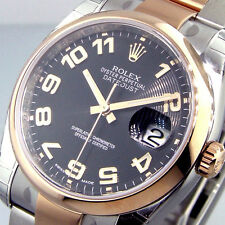 UNWORN ROLEX 116201 STEEL PINK GOLD 36 mm DATEJUST OYSTER BLACK CONCENTRIC DIAL