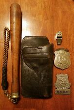 early 1900s providence police sergeants badges/ nightstick/ whistle, gun holster