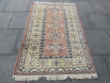 Old Hand Made Turkish Oriental Rug Faded Pink Red Wool 6x4 Rug 190x122cm