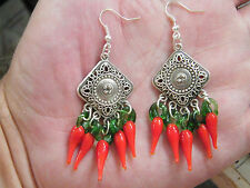 RED CHILI PEPPERS EARRINGS SQUARE FILAGREE MEXICAN EARRINGS SILVER PLATED WIRES