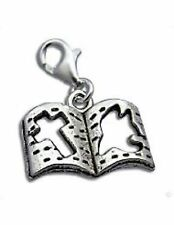 LOVELY SILVER  OPEN  BIBLE & PEACE  BOOK - CLIP ON CHARM  -TIBETIAN SILVER - NEW