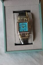 ECCLISSI Sterling Turquoise Face Brown Leather Strap Watch! Brand New in Box!