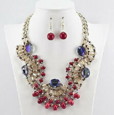 """16"""" Gold Toned Adjustable Coral, Amber, and Blue Crystal Necklace With Earrings"""