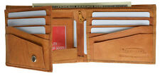 Tan MENS LEATHER WALLET BIFOLD ID Window Plain Flap Out Credit Card Money