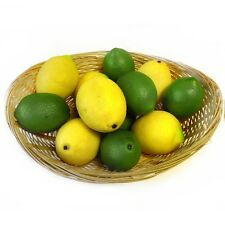 6 Artificial Lemons & 6 Artificial Limes - 12 Decorative Lemon & Lime Fruit