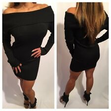 Connie's Long sleeve Off Shoulder Black Sweater Dress Sweater Mini Dress S/M