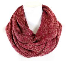 B135 Soft Sweater Knit Burgundy Red Metallic Gold Threading Infinity Scarf