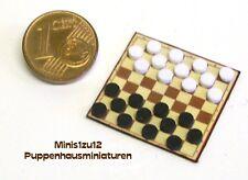 3005# MiniaturSpielbrett - Dame mit Figuren - Puppenhaus - Puppenstube - M 1zu12